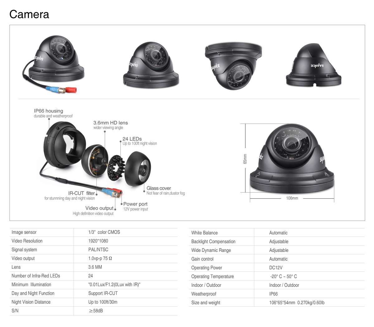 sannce 4pcs 1080p dome 24ir 100ft night vision outdoor