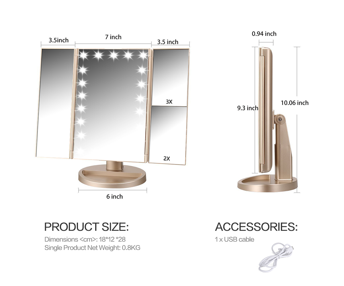 easehold 21 led lighted touch screen makeup mirror cosmetic stand vanity mirror ebay. Black Bedroom Furniture Sets. Home Design Ideas