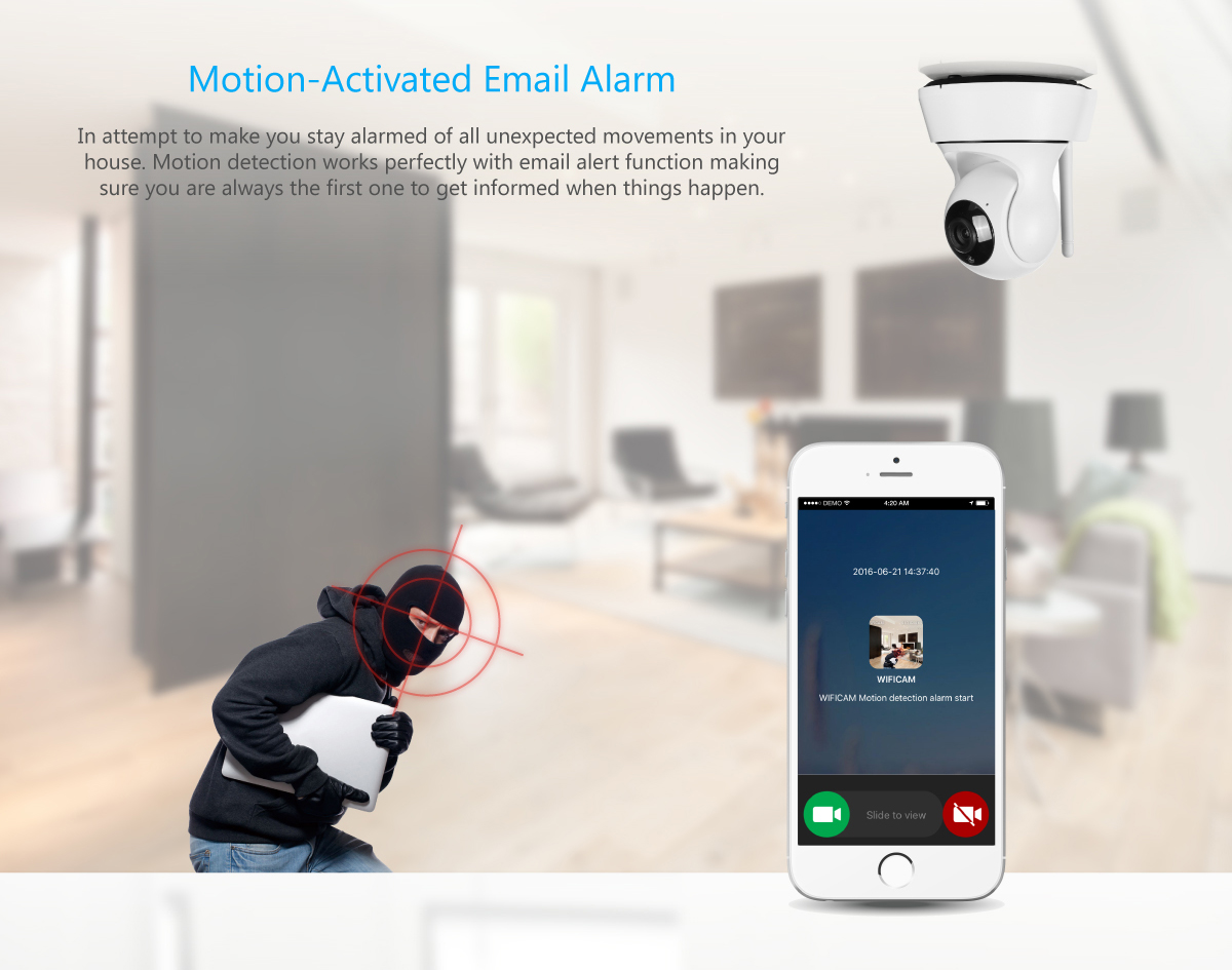 Wifi wireless 720p network security ip camera email for Camera email