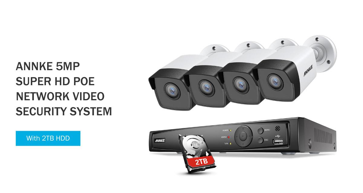 ANNKE 8CH 5MP PoE Surveillance System 4K NVR 4x 5MP PoE IP