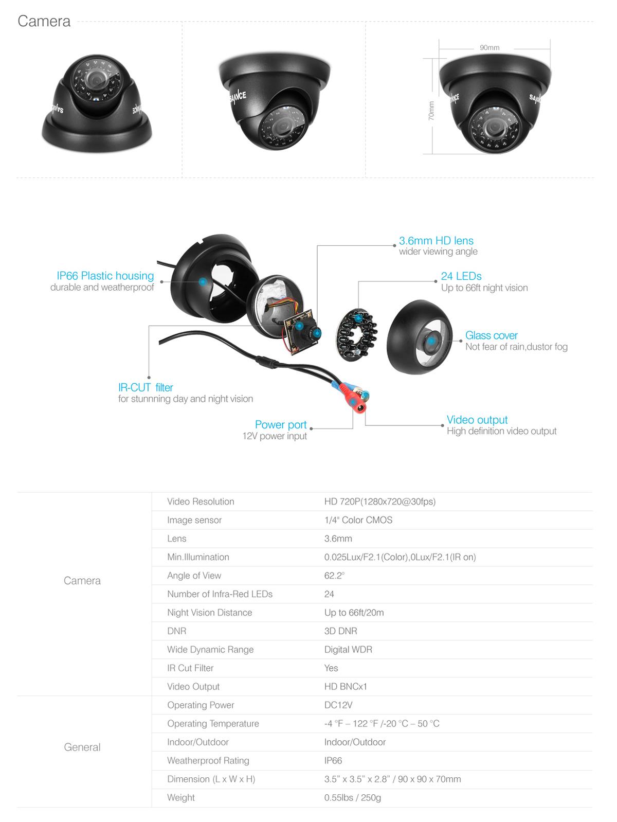 sannce 720p hd 1500tvl ip66 in  outdoor ir night vision